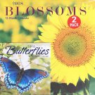 2018 Illustrated Wall Calendars with Matching Mini Calendars,(Blossoms)