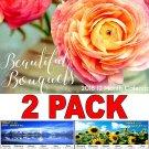 Beautiful Bouquets - 12 Month 2018 Wall Calendar Planner Organizer + Bonus