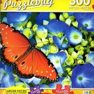 Queen Butterfly on Blue Hydrangea Flowers - 300 Large Pieces Jigsaw Puzzle - Puzzlebug - p 003
