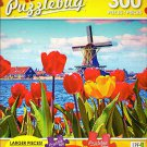 Dutch Windmill Behind Blossoming Tulips - 300 Large Pieces Jigsaw Puzzle - Puzzlebug - p 003
