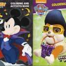 Paw Patrol / Disney Mickey & Friends - Halloween Coloring and Activity Book - Set of 2 Books