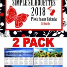 Simple Silhouettes - 2018 Photo Frame Wall Spiral-bound Calendar + Free Bonus 2018 Magnetic Calendar