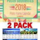 Pastel Geometrics - 2018 Photo Frame Wall Spiral-bound Calendar + Free Bonus 2018 Magnetic Calendar