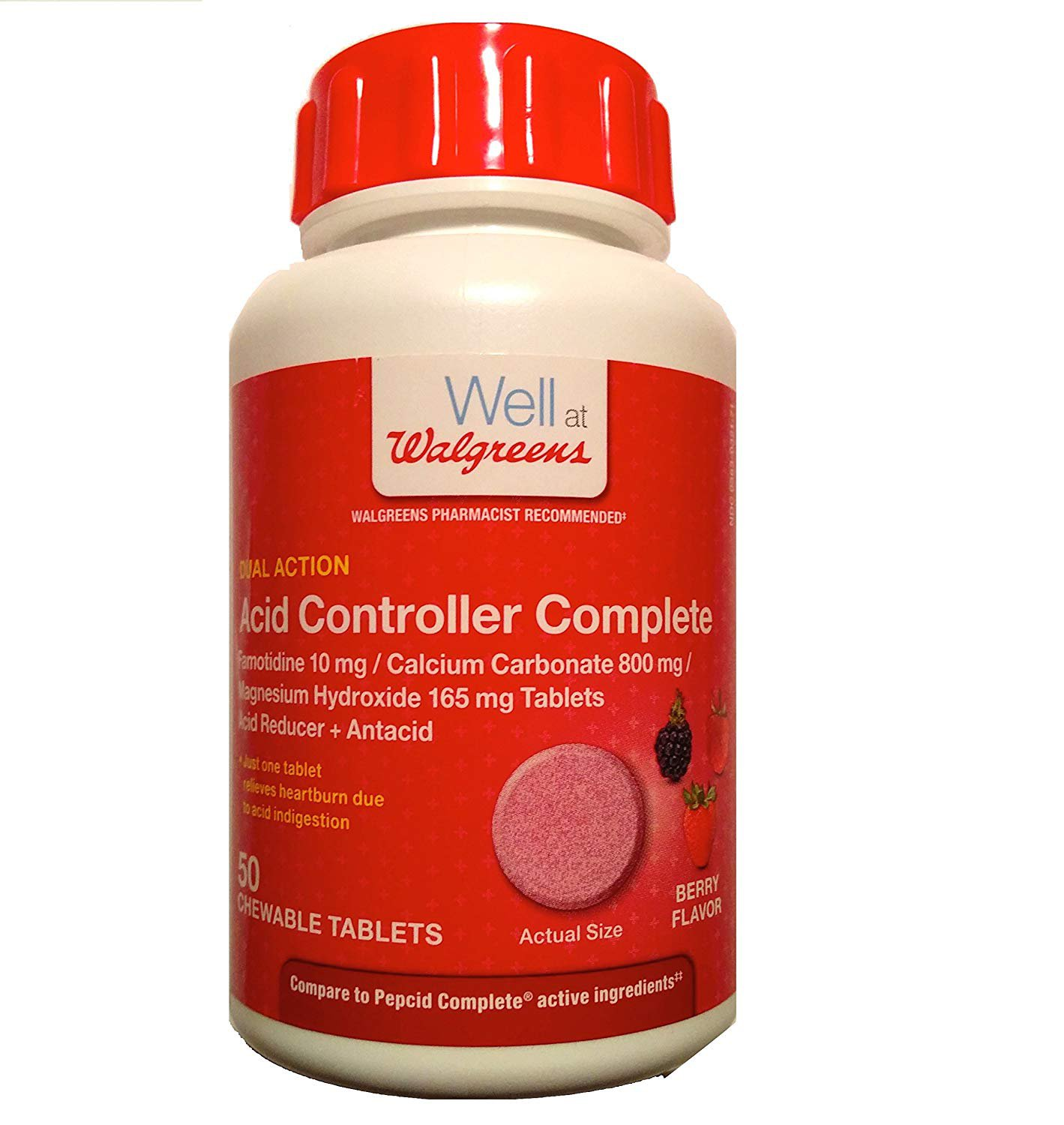 Walgreens Acid Controller Complete Chewable Tablets, 50 Tablets (Berry)