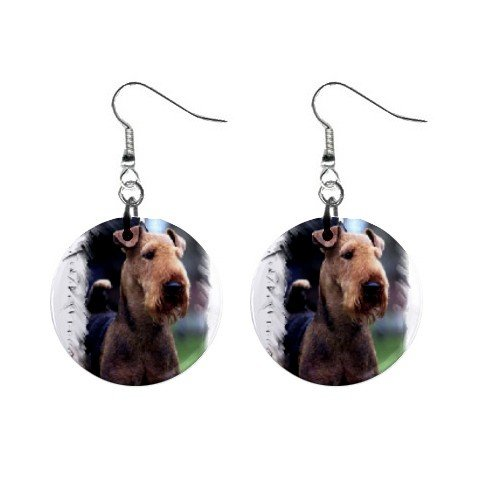 "Airedale Terrier 1"" Button Earrings 12100158"