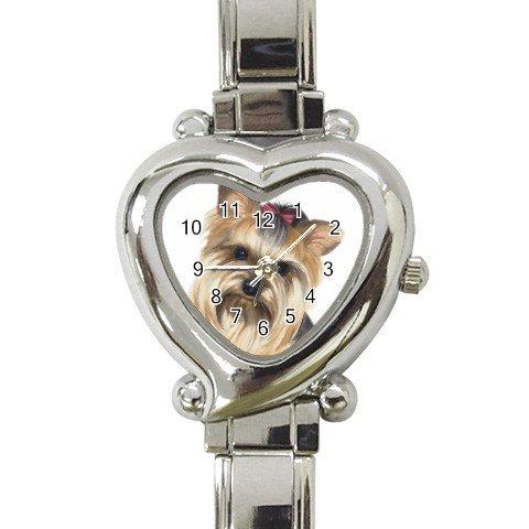 Yorkie Yorkshire Terrier Heart Italian Charm Watch 12099483