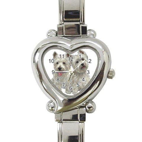 Westies - West Highland White Terriers Heart Italian Charm Watch 12099485