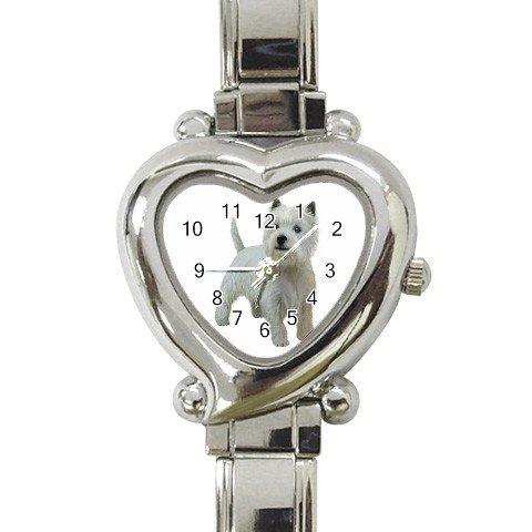 West Highland White Terriers - Westies - Heart Italian Charm Watch 12099486
