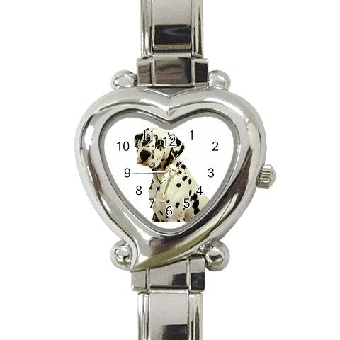 Dalmatian Heart Shape Italian Charm Watch 12100120
