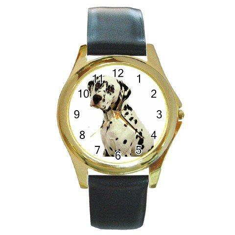 Dalmatian Round Gold Metal Watch Unisex 12100112