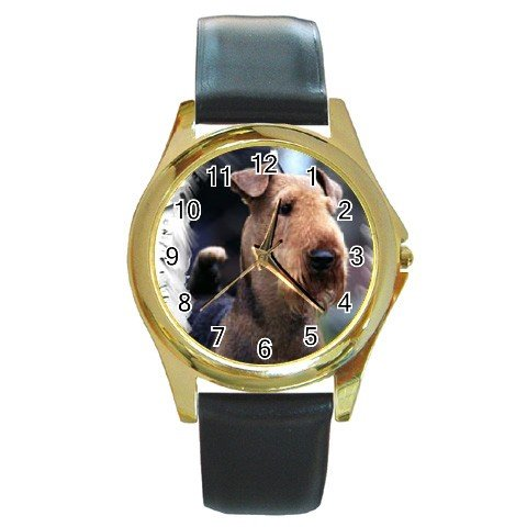 Airedale Terrier Round Gold Metal Watch Unisex  12100161