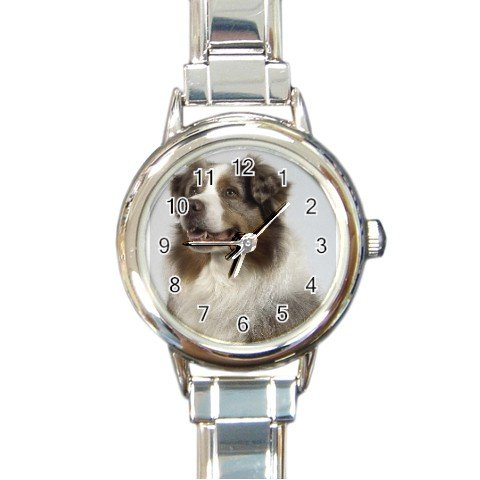 Australian Shepherd Dog Round Italian Charm Watch 12102623