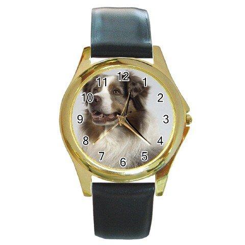 Australian Shepherd Dog Round Gold Metal Watch Unisex 12102629
