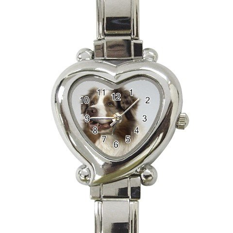 Australian Shepherd Dog Heart Shape Italian Charm Watch 12102637