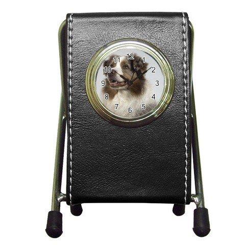 Australian Shepherd Dog  Pen Holder Desk Clock  12102640