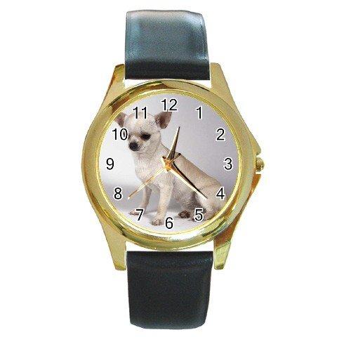 Chihuahua Dog Round Gold Metal Watch Unisex  12102678