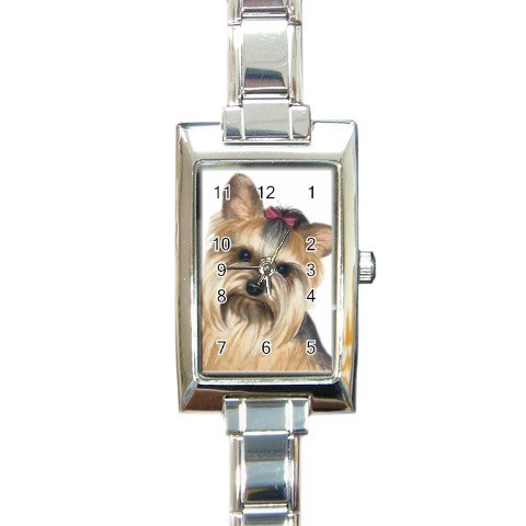 Yorkie Yorkshire Terrier Rectangular Italian Charm Watch  12110660