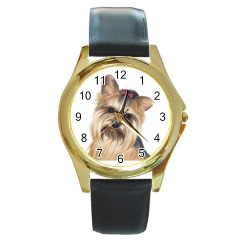 Yorkie Yorkshire Terrier Dog Round Gold Metal Watch Unisex 12110666