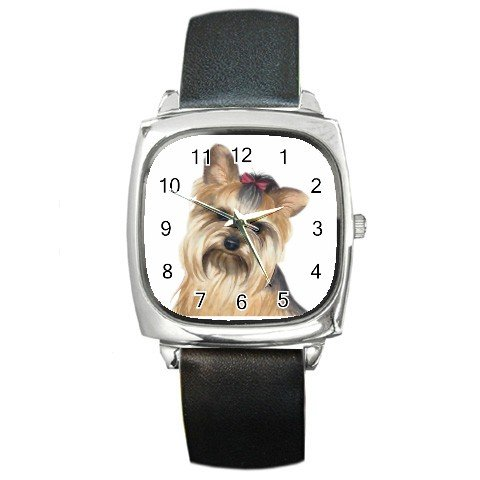 Yorkie Yorkshire Terrier Dog Pet Lover Square Metal Watch Unisex 12110671