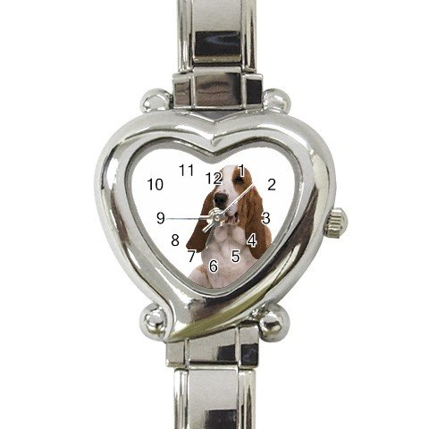 Basset Hound Dog Heart Italian Charm Watch 12125361