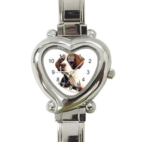 Pointer Dog Heart Italian Charm Watch 12125442