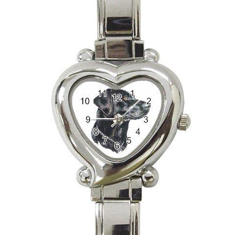 Black Lab Labrador Retriever Dog Heart Italian Charm Watch 12135272