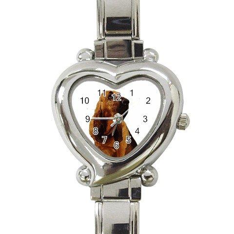 Bloodhound Dog Heart Italian Charm Watch 12144812