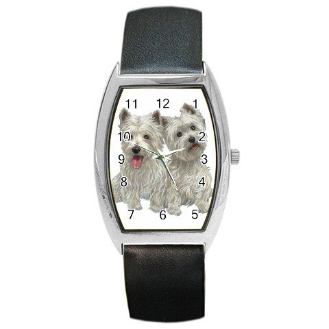 Westies West Highland White Terriers Dog Barrel Style Metal Watch 12111274