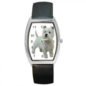 West Highland White Terriers Westies Dog Barrel Style Metal Watch 12111846