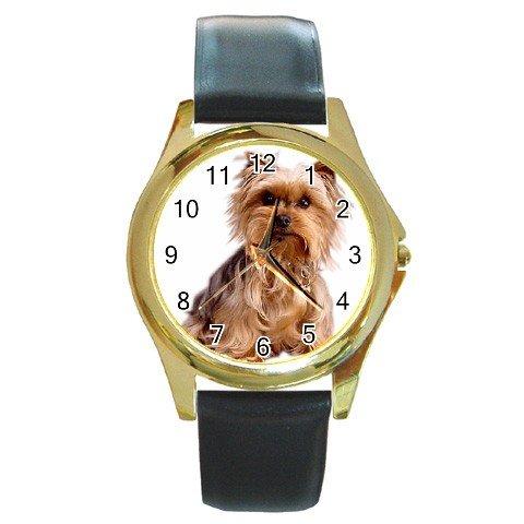 Yorkshire Terrier Yorkie Dog Round Gold Metal Watch Unisex 12111022