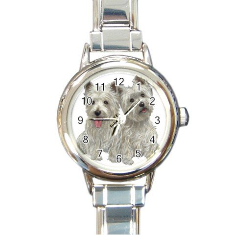 Westies - West Highland White Terriers - Dog Round Italian Charm Watch  12111261