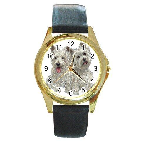 Westies - West Highland White Terriers Dog Round Gold Metal Watch Unisex 12111267