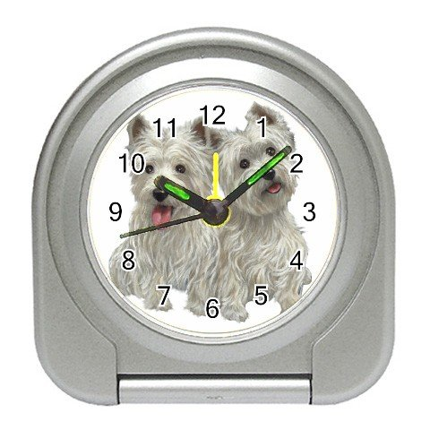 Westies - West Highland White Terriers - Dog Pet Lover Travel Alarm Clock  12111275
