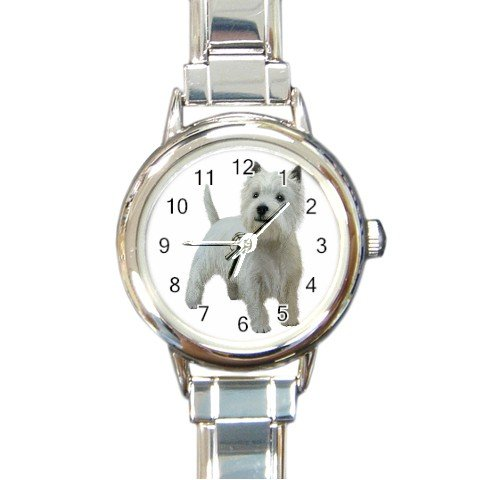 West Highland White Terriers - Westies - Dog Round Italian Charm Watch 12111833