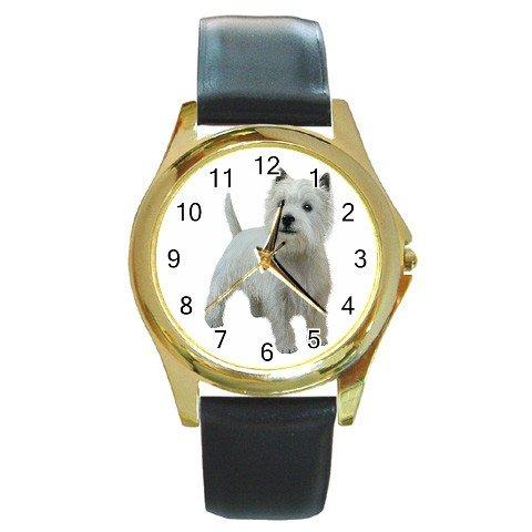 West Highland White Terriers - Westies - Dog Round Gold Metal Watch Unisex 12111839