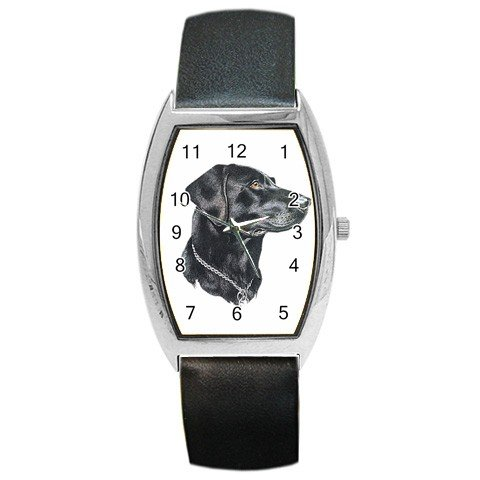 Black Lab Labrador Retriever Dog Barrel Style Metal Watch Unisex 12135271