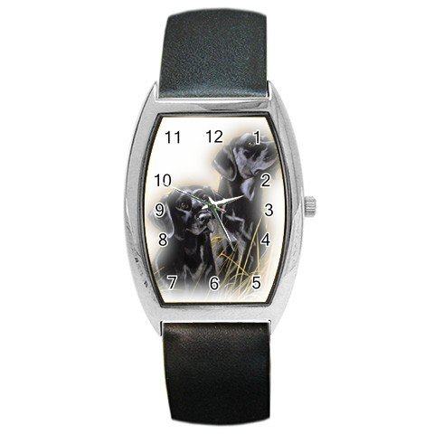 Black Lab Labrador Retriever Puppy Puppies Dog  Barrel Style Metal Watch Unisex 12135424