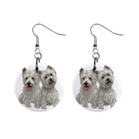 Westies - West Highland White Terriers - Dog Button Earrings 12111264