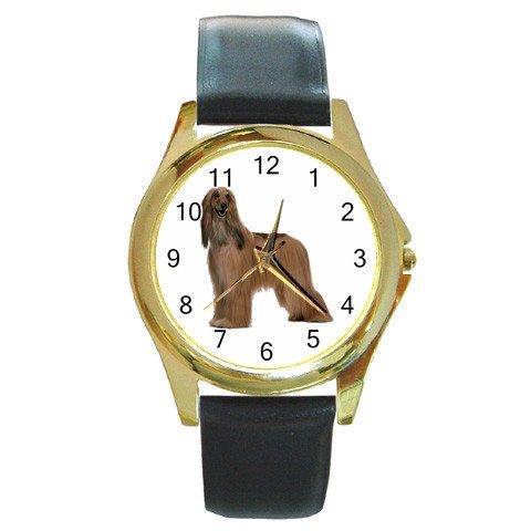 Afghan Hound Dog Round Gold Metal Watch Unisex 12112189