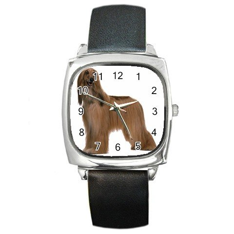 Afghan Hound  Dog Pet Lover Square Metal Watch Unisex 12112195