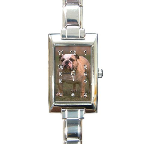 Bulldog Bull Dog Rectangular Italian Charm Watch 12124820
