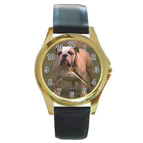 Bulldog Bull Dog Round Gold Metal Watch Unisex 12124827