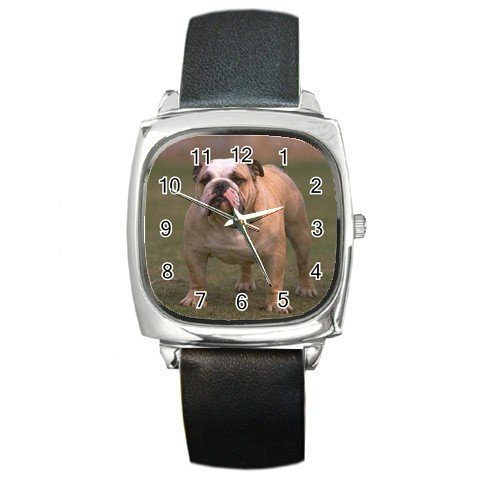 Bulldog Bull Dog Pet Lover Square Metal Watch Unisex  12124832