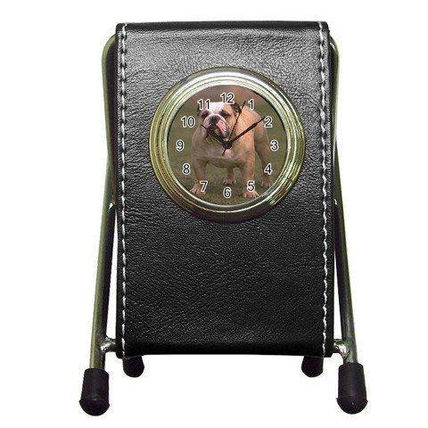 Bulldog Bull Dog Pet Lover Pen Holder Desk Clock  12124837