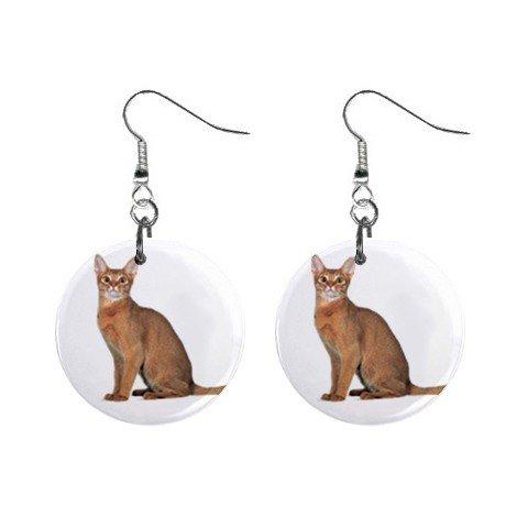 """Abyssinian Cat Pet Lover  1"""" Button Earrings 12168389"""