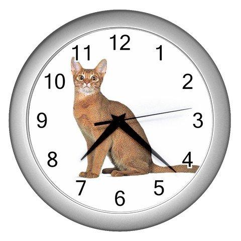 Abyssinian Cat Pet Lover Wall Clock Silver 12168394
