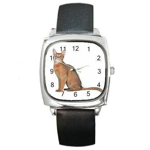Abyssinian Cat Pet Lover Square Metal Watch Unisex 12168412