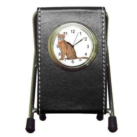 Abyssinian Cat Pet Lover Pen Holder Desk Clock 12168417