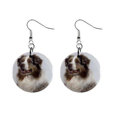 Australian Shepherd Dog Button Earrings 12102626