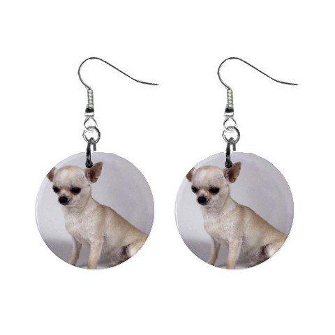 Chihuahua Dog Button Earrings 12102675